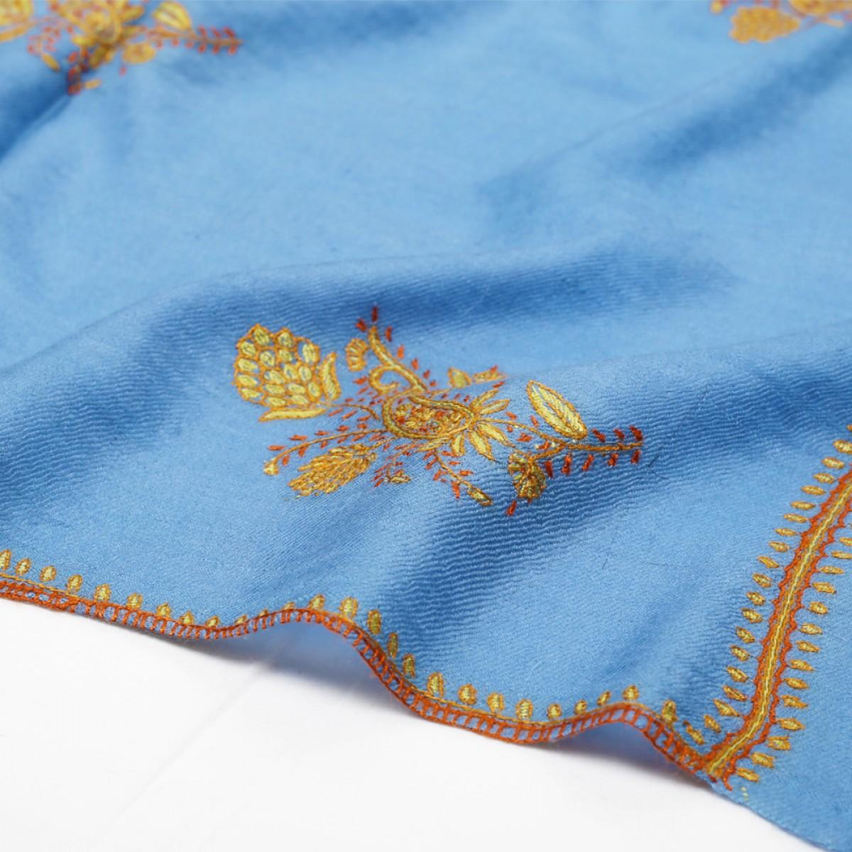 Embroidered Pashmina Stole - Maya Blue