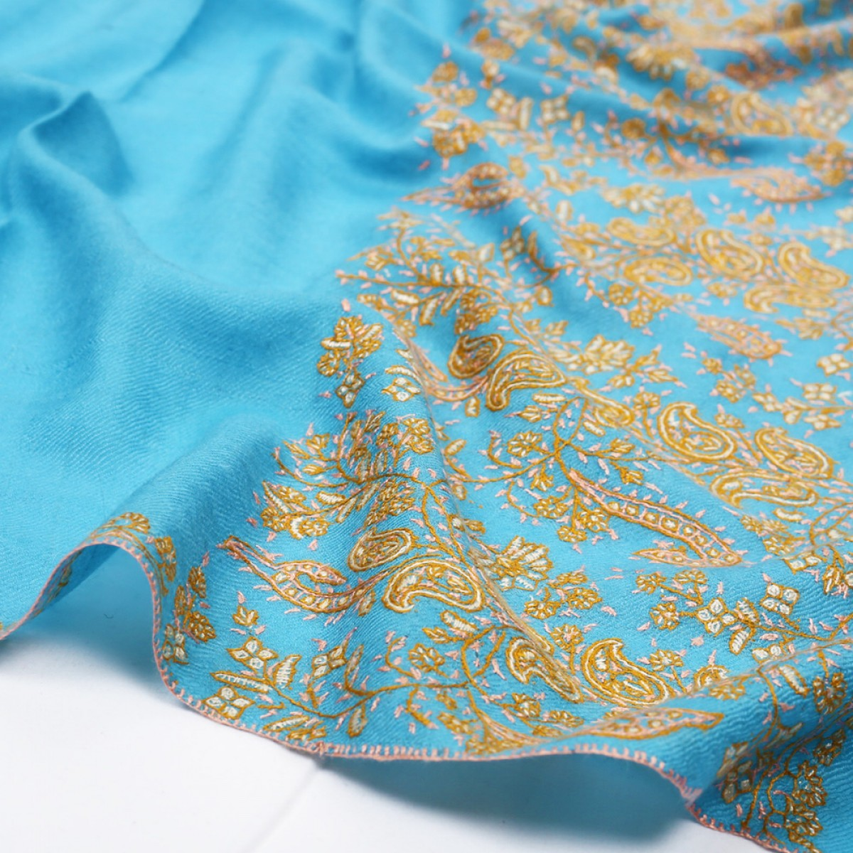 Embroidered Pashmina Stole - Teal