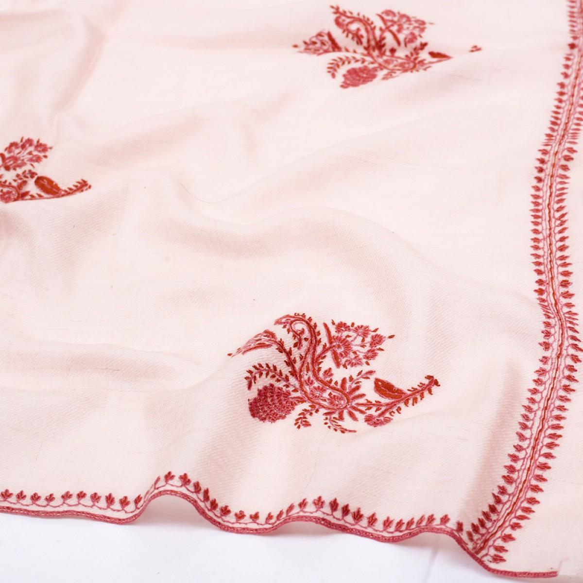 Embroidered Pashmina Stole - Red Bean