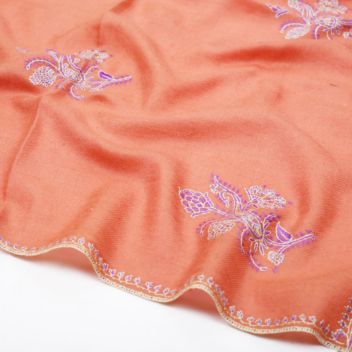 Embroidered Pashmina Stole - Salmon