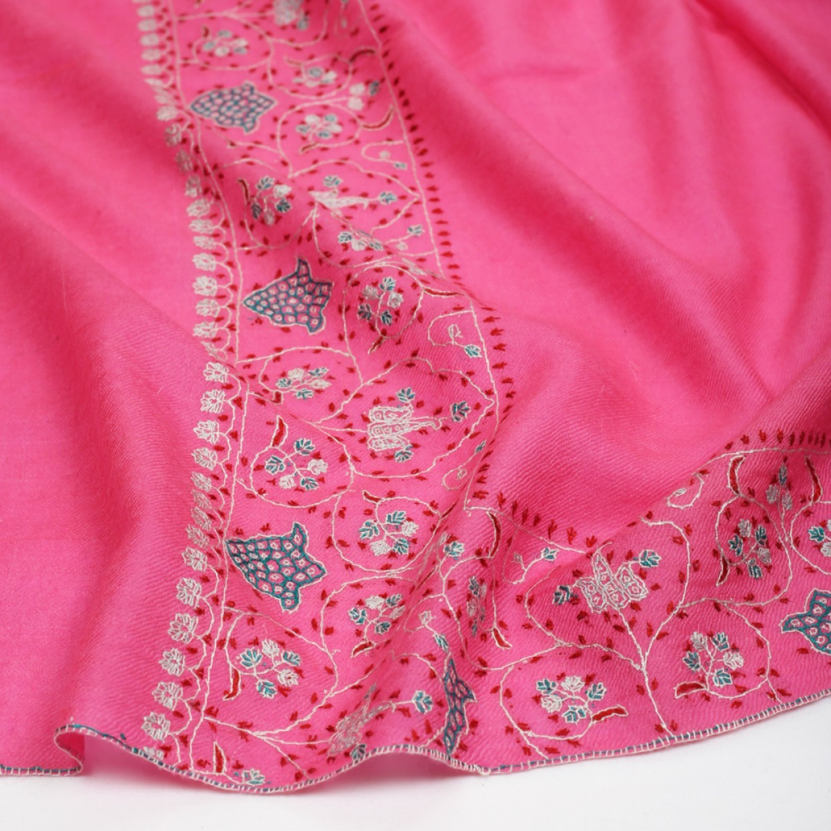 Embroidered Pashmina Stole - Bubblegum Pink