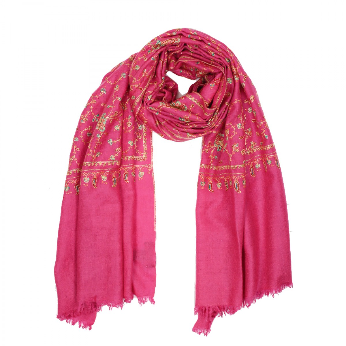 Embroidered Pashmina Stole - Watermelon