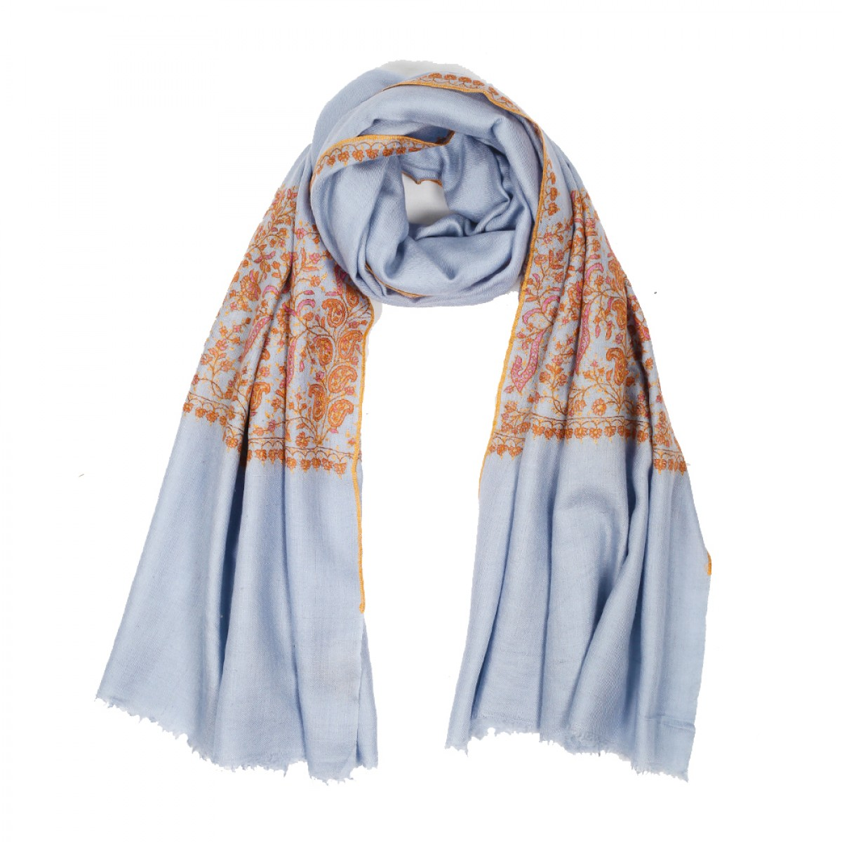 Embroidered Pashmina Stole - Grey