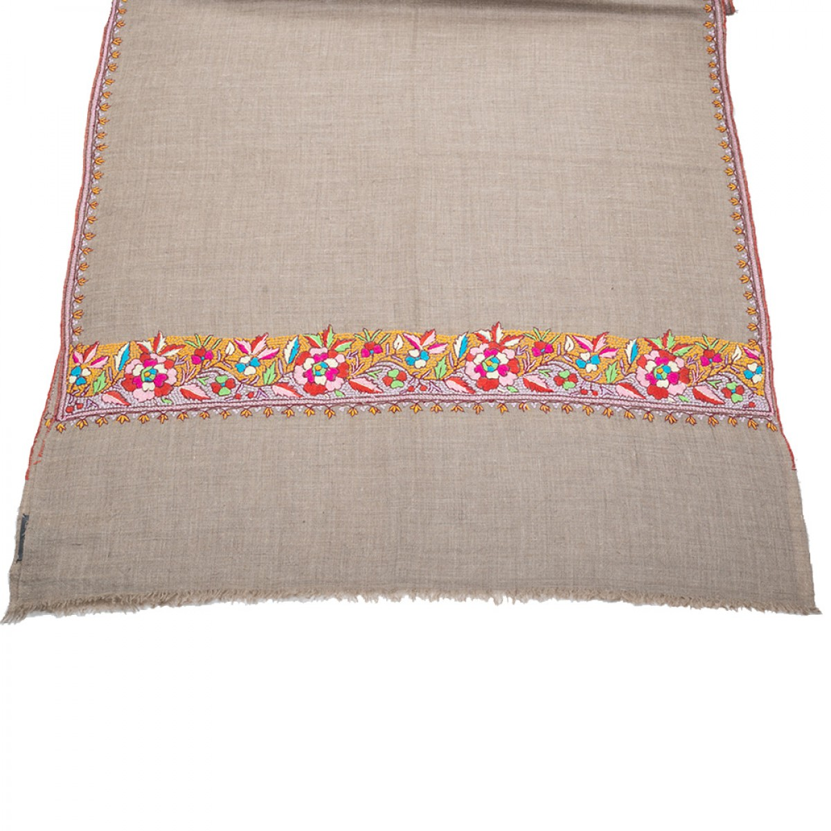 Embroidered Pashmina Stole - Natural