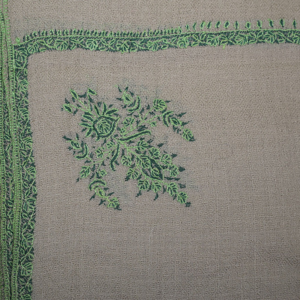 Embroidered Handloom Pashmina Stole - Natural Green