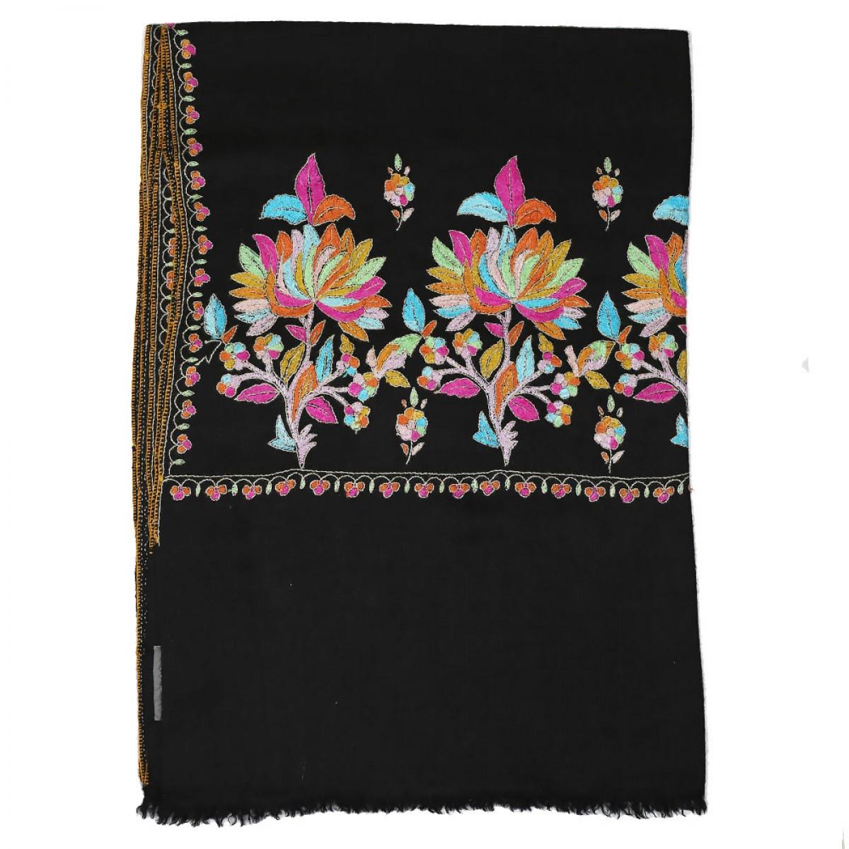 Embroidered Handloom Pashmina Stole - Black Gold