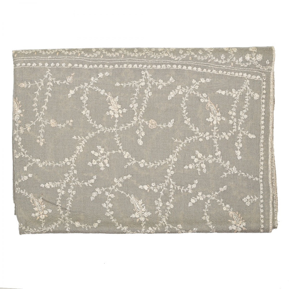 Embroidered Handloom Pashmina Stole - Taupe