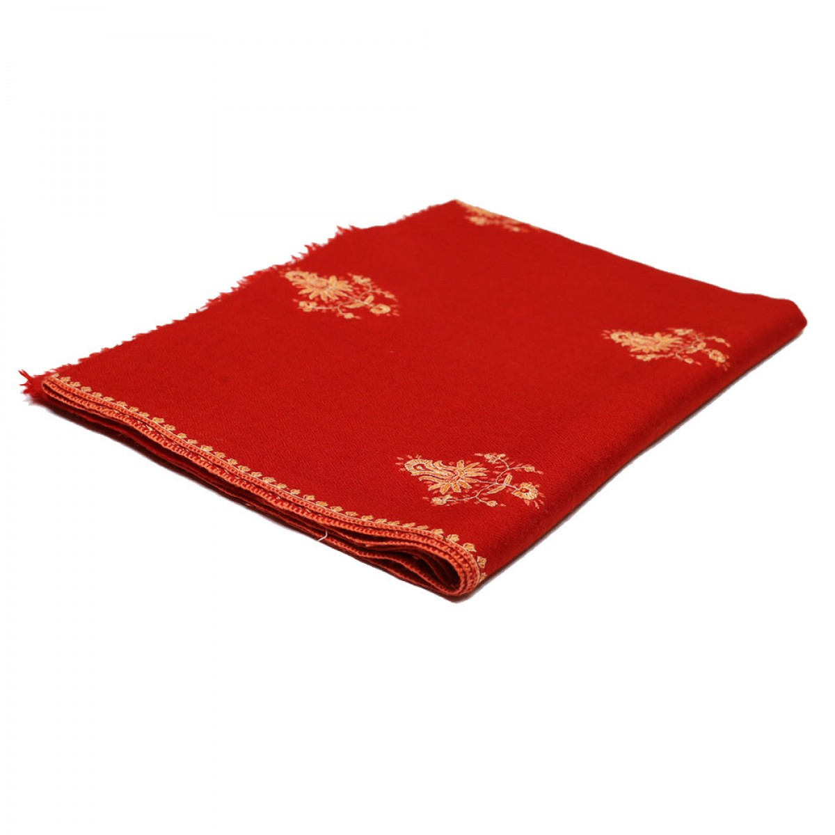Embroidered Handloom Pashmina Stole - Candy Apple