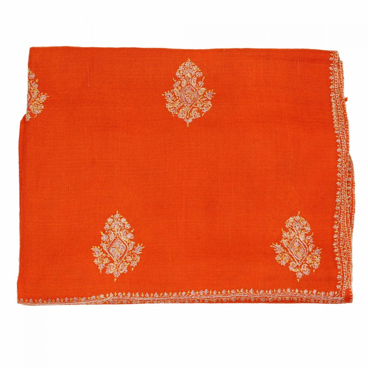 Embroidered Pashmina Scarf - Orange