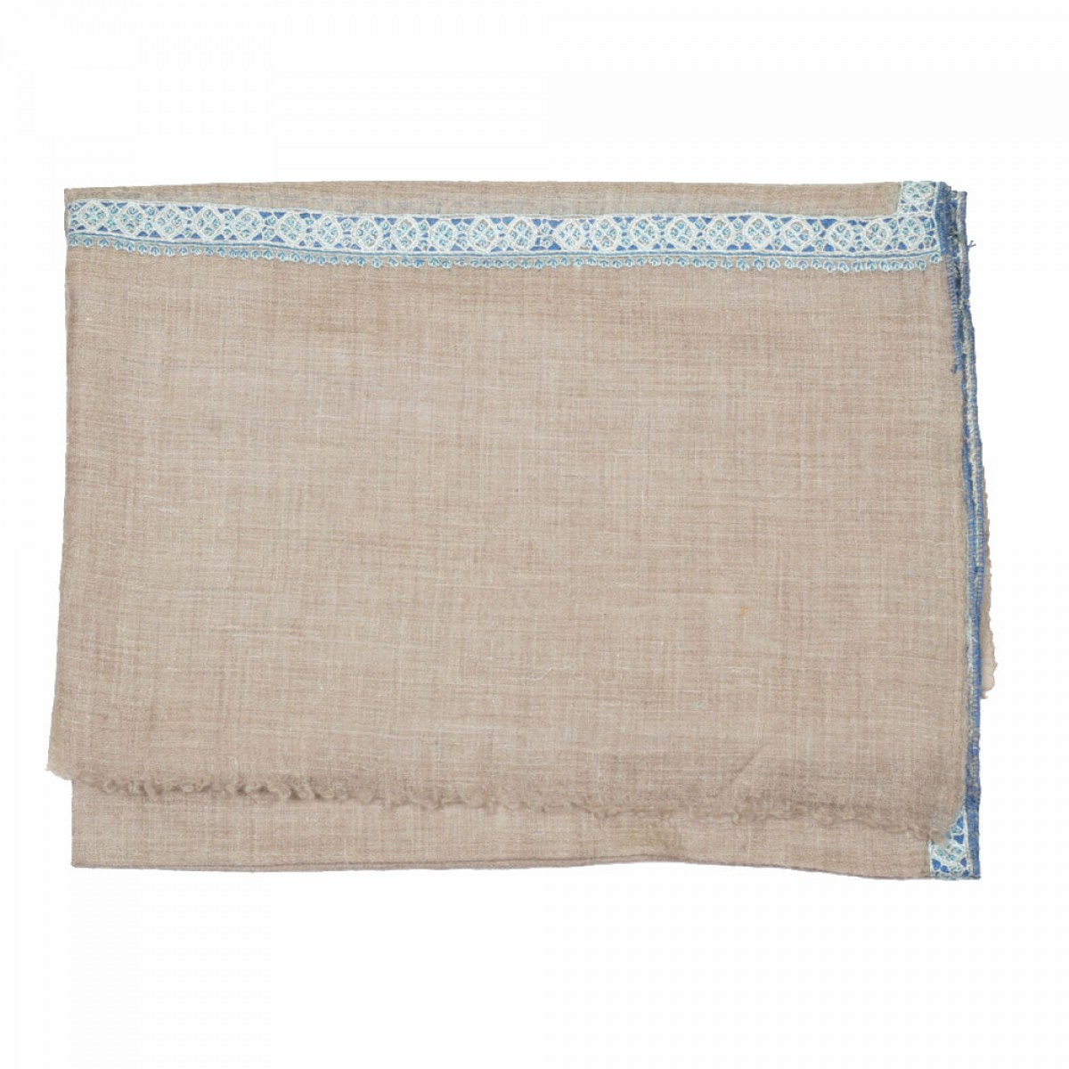 Embroidery Handloom Pashmina Scarf - Natural Blue