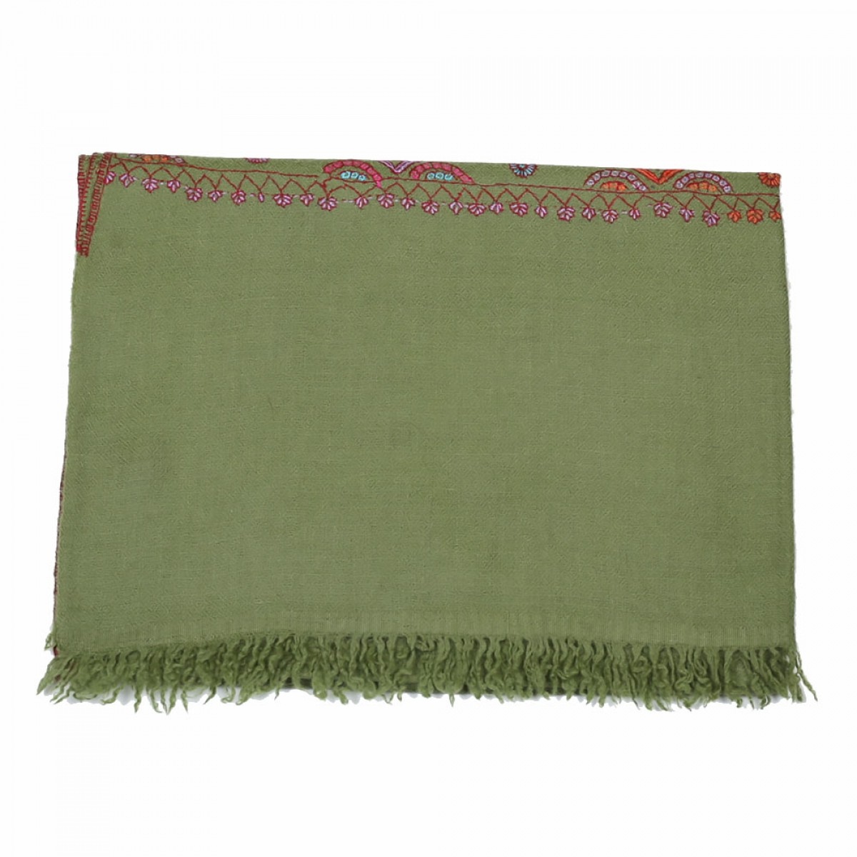 Embroidered Handloom Pashmina Stole - Pickle Green