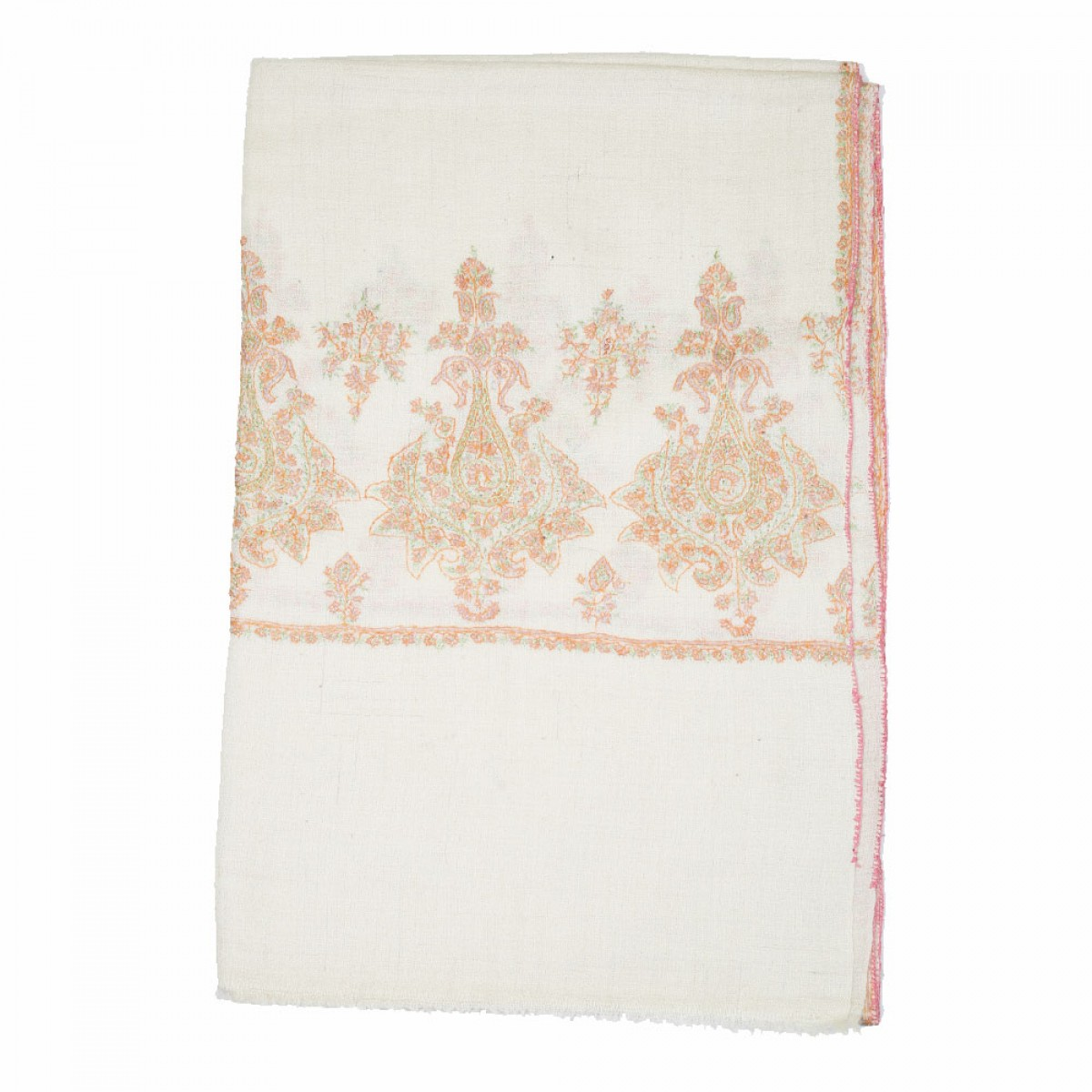 Embroidered Handloom Pashmina Stole - Off White