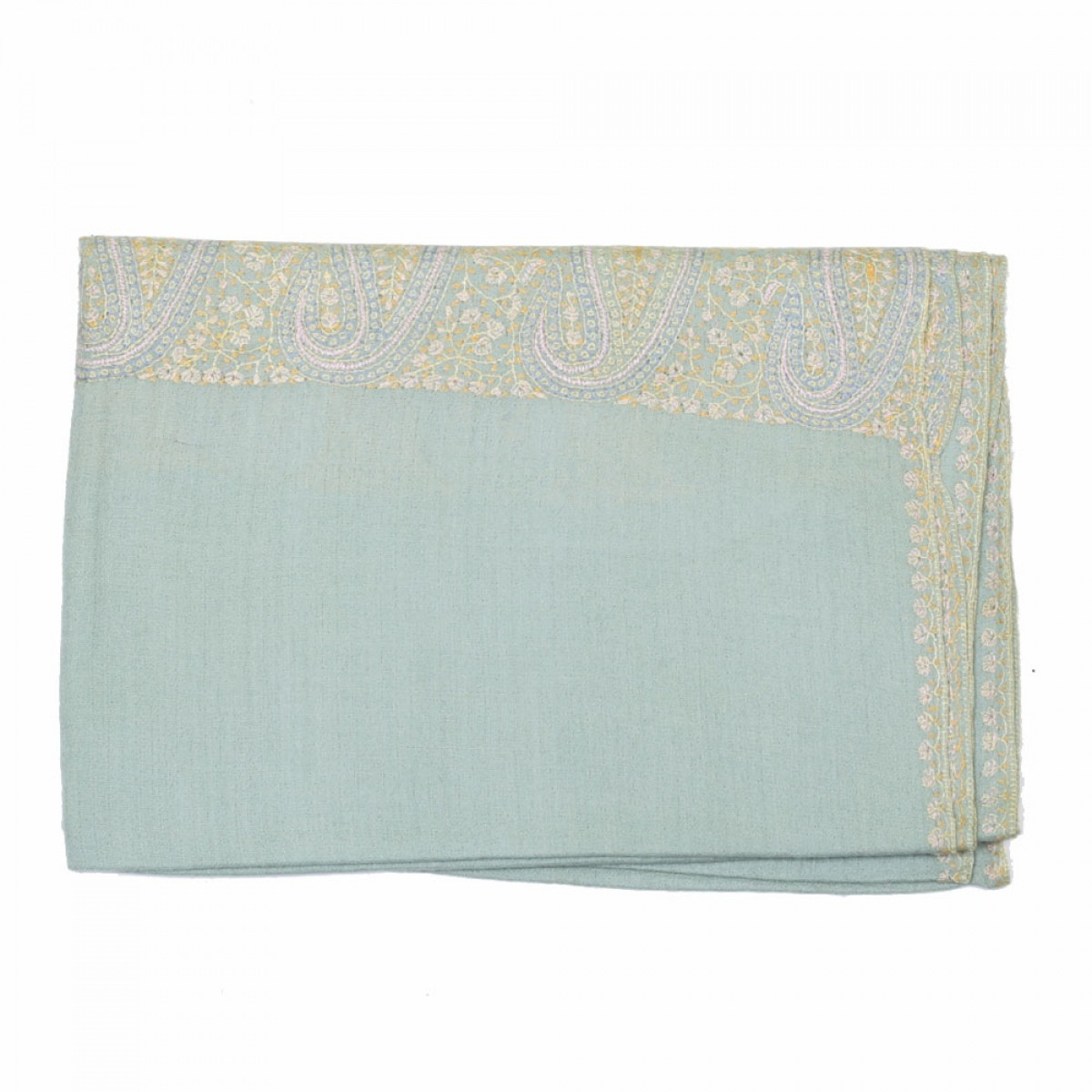 Embroidered Handloom Pashmina Stole - Baby Green