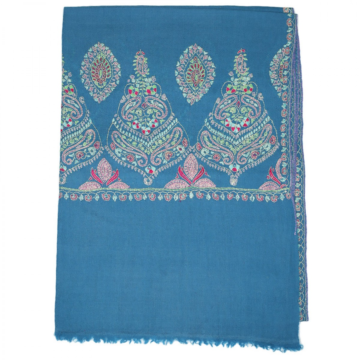 Embroidered Pashmina Stole - Steel Blue
