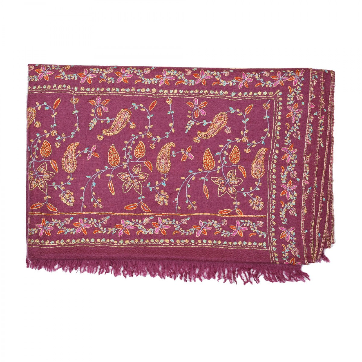 Embroidered Pashmina Stole - Mulberry