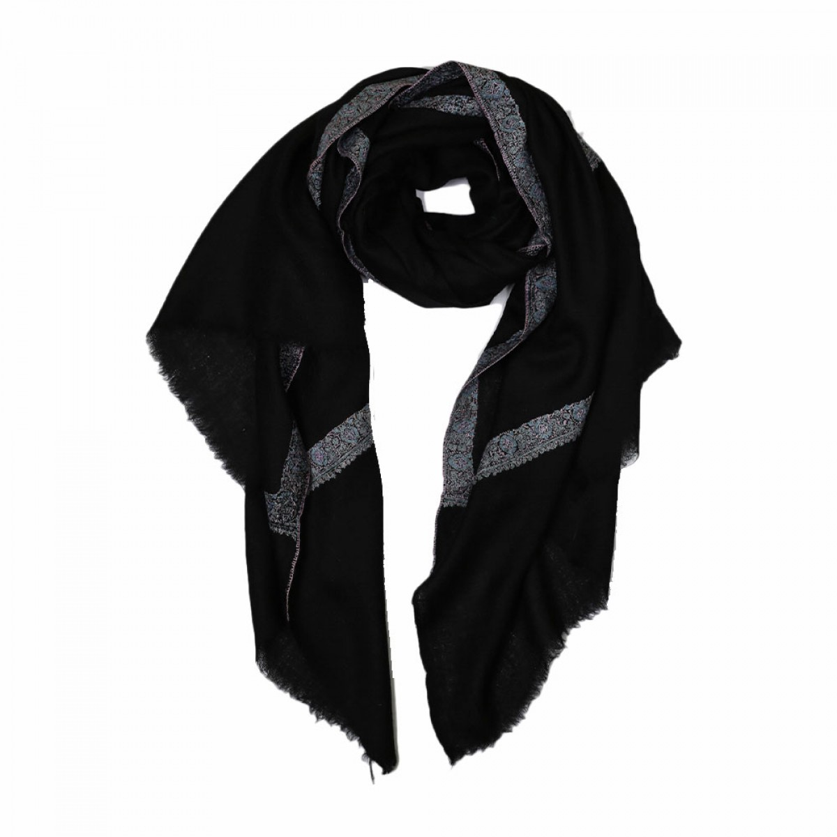 Embroidered Handloom Pashmina Stole - Black