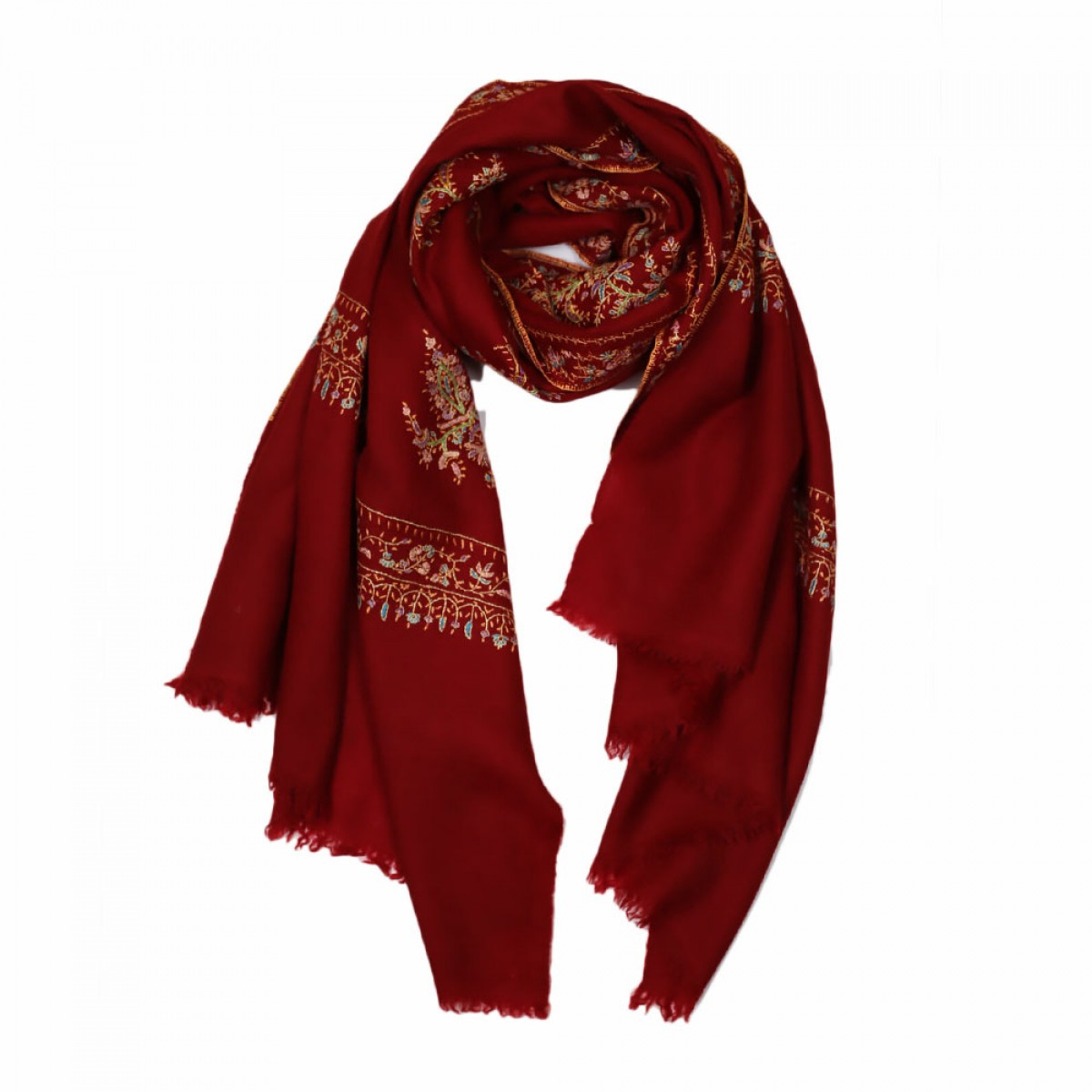 Embroidered Handloom Pashmina Stole - Crimson Red
