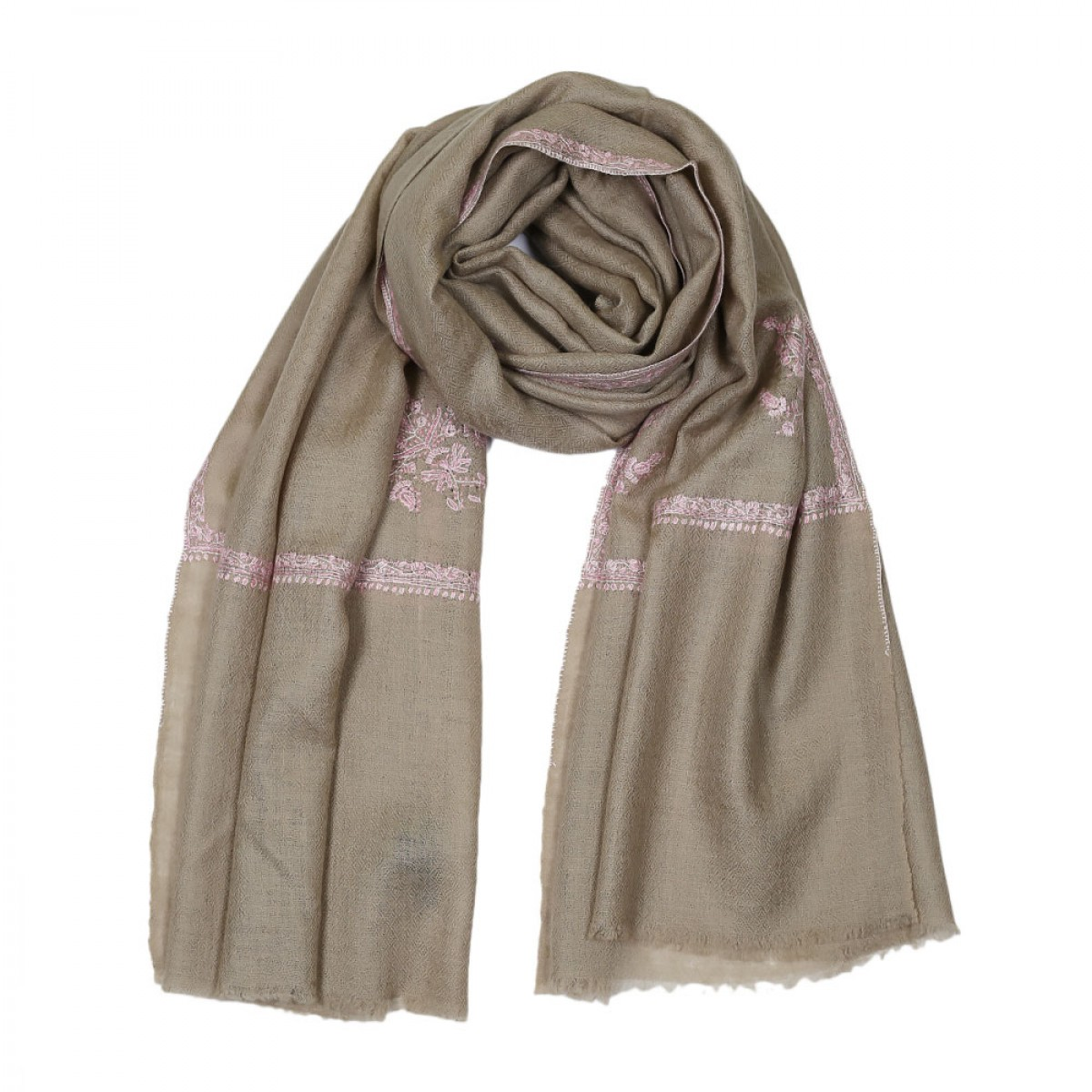Embroidered Handloom Pashmina Stole - Natural Baby Pink