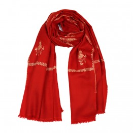 Embroidery Handloom Pashmina - Candy Apple