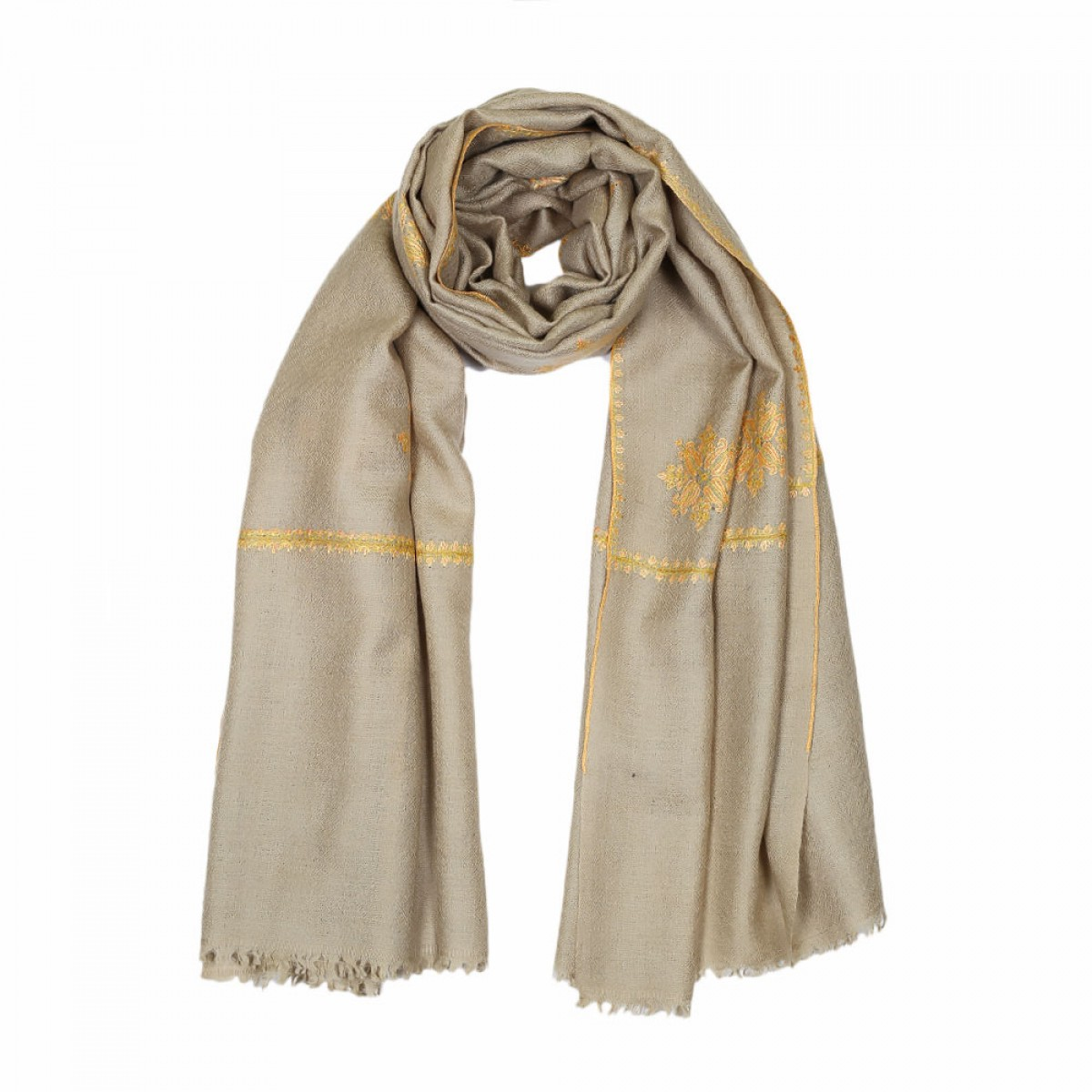 Embroidered Pashmina Stole - Oat Gold