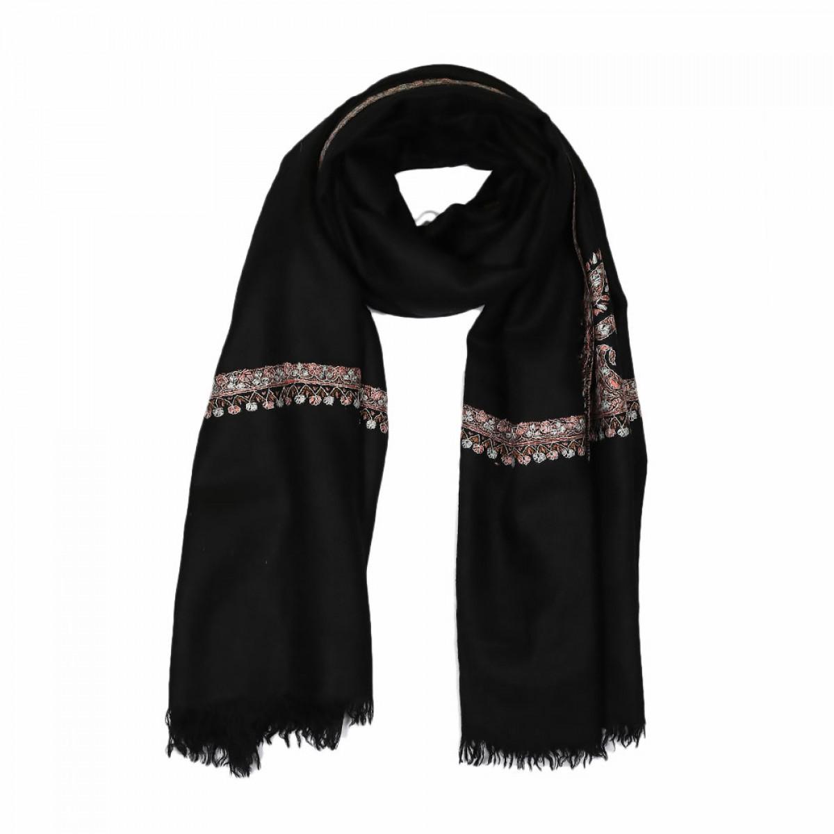 Embroidered Handloom Pashmina Stole - Black Sepia