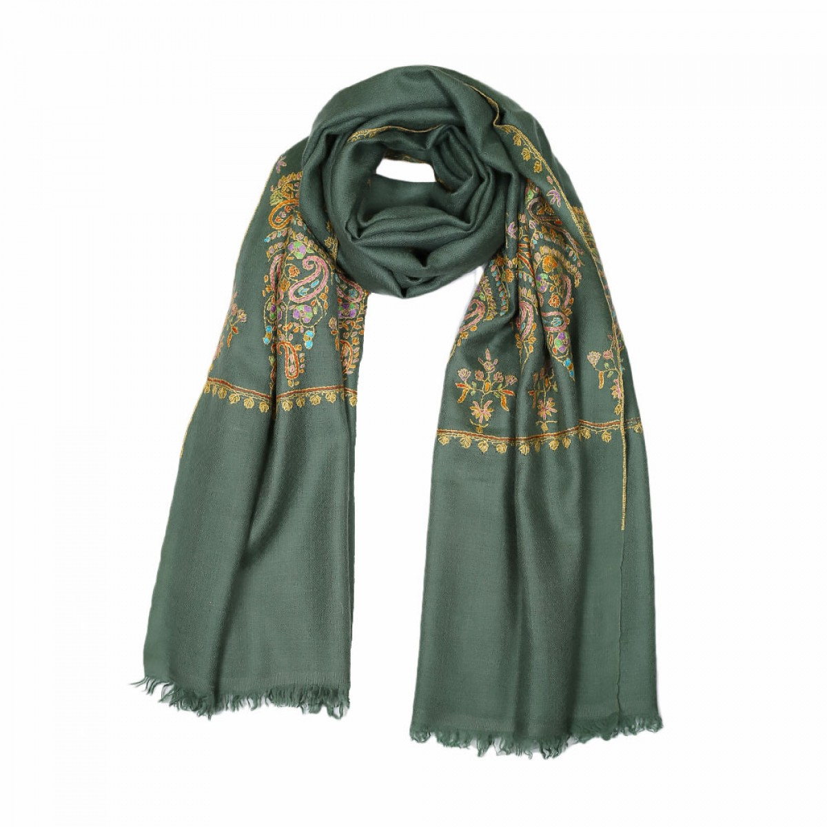 Embroidered Pashmina Stole - Sage Yolk