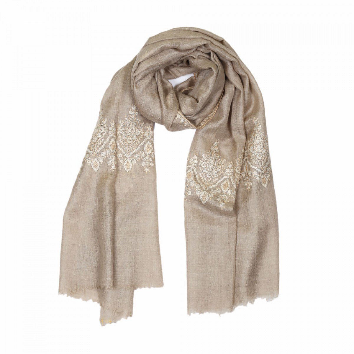 Embroidered Handloom Pashmina Stole - Natural Latte