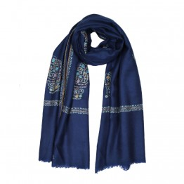 Embroidery Handloom Pashmina Scarf - Sapphire Mustard