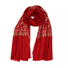 Embroidered Handloom Pashmina Stole - Scarlet
