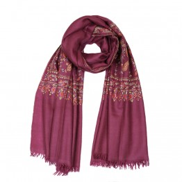 Embroidered Handloom Pashmina Stole - Mulberry