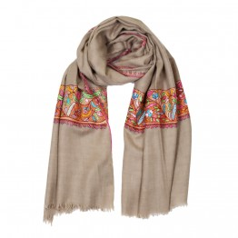 Embroidered Handloom Pashmina Stole - Camel