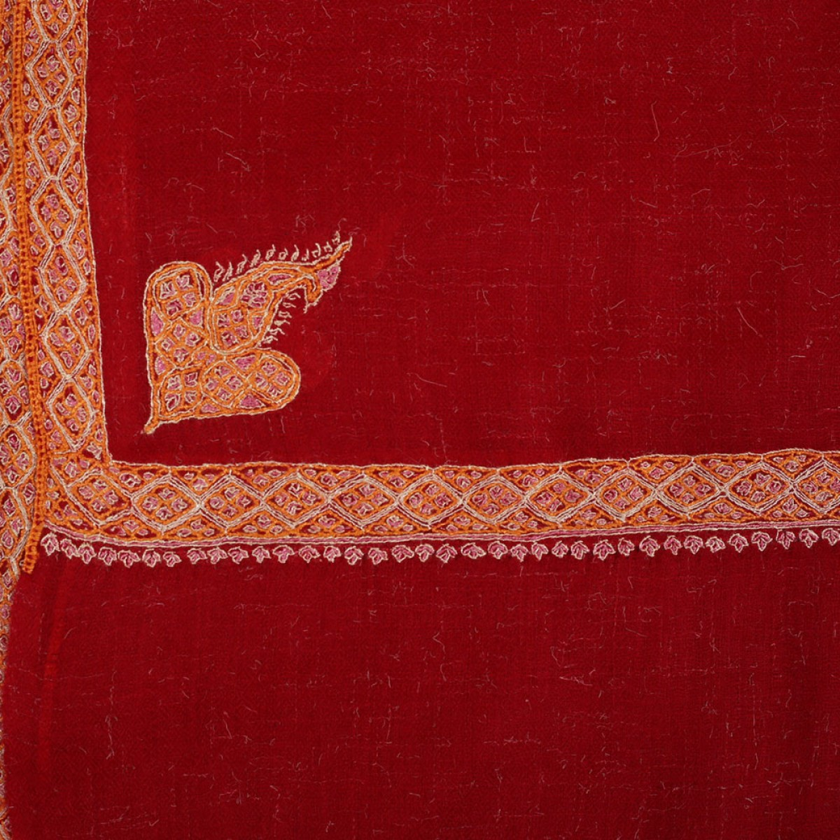 Embroidered Handloom Pashmina Stole - Raspberry