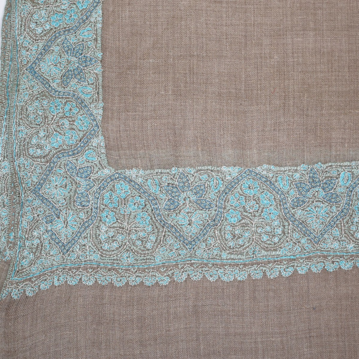 Embroidered Handloom Pashmina Stole - Natural