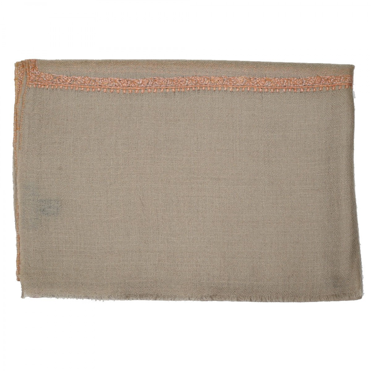 Embroidered Handloom Pashmina Stole - Natural Peach