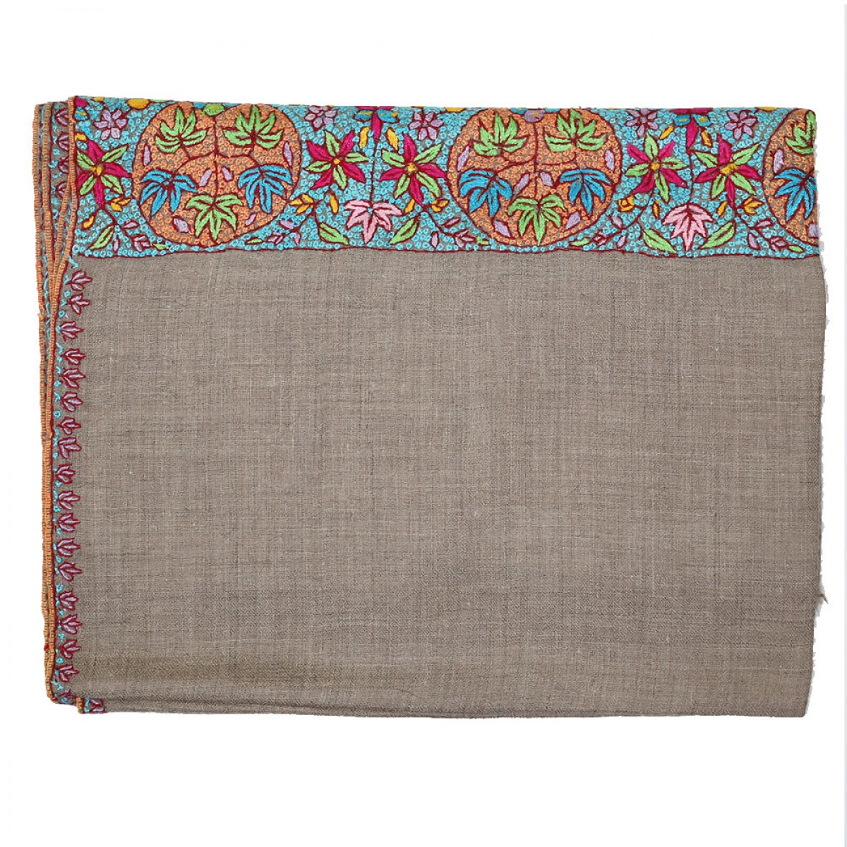 Embroidered Handloom Pashmina- Natural Aqua