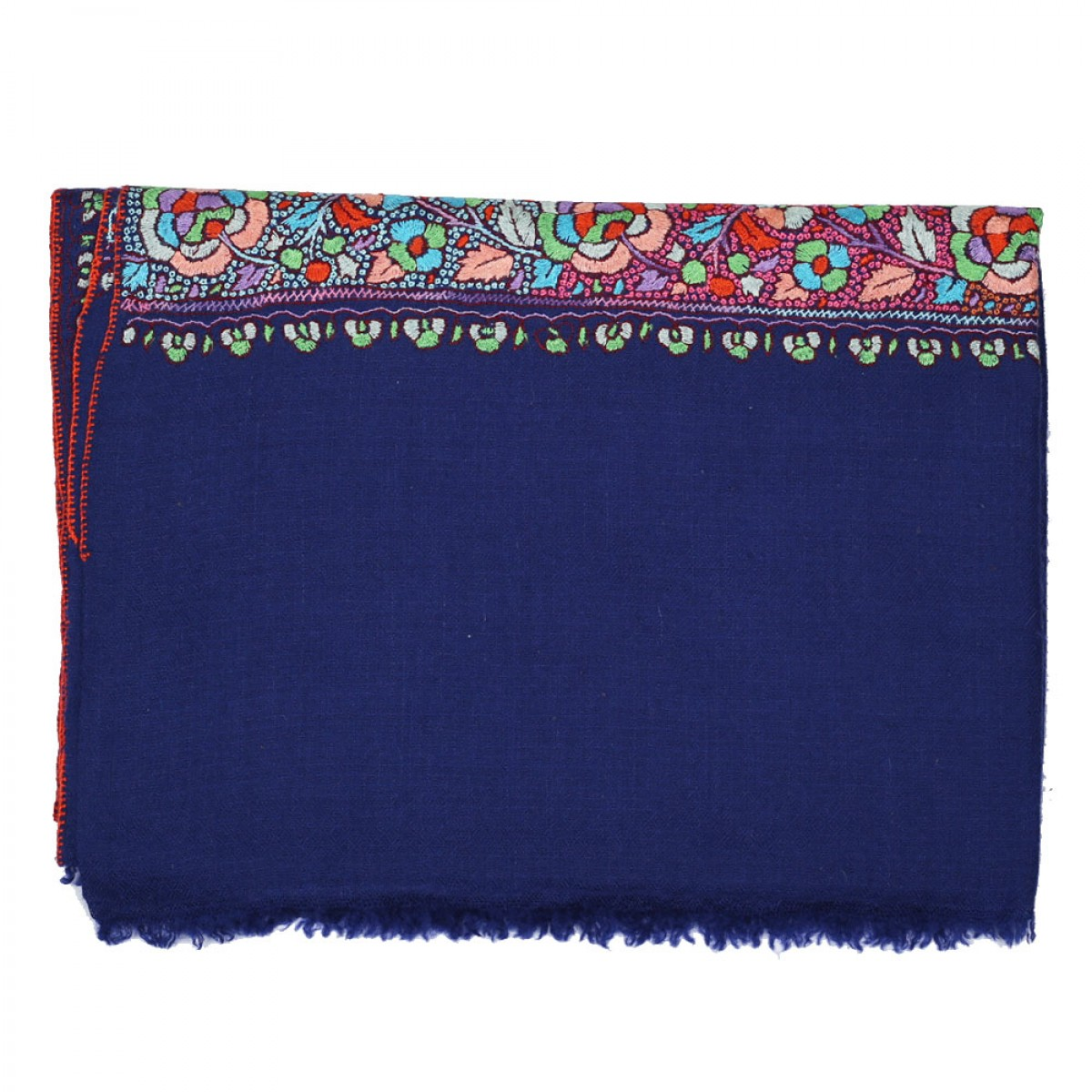 Embroidered Handloom Pashmina Stole - Midnight Blue