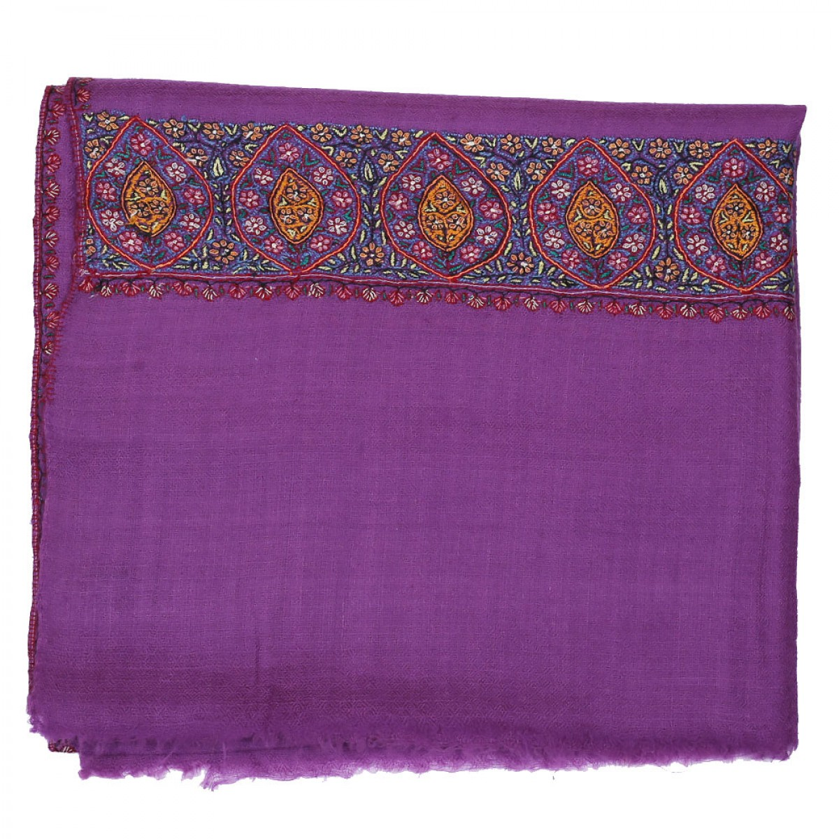 Embroidered Pashmina Stole - Purple