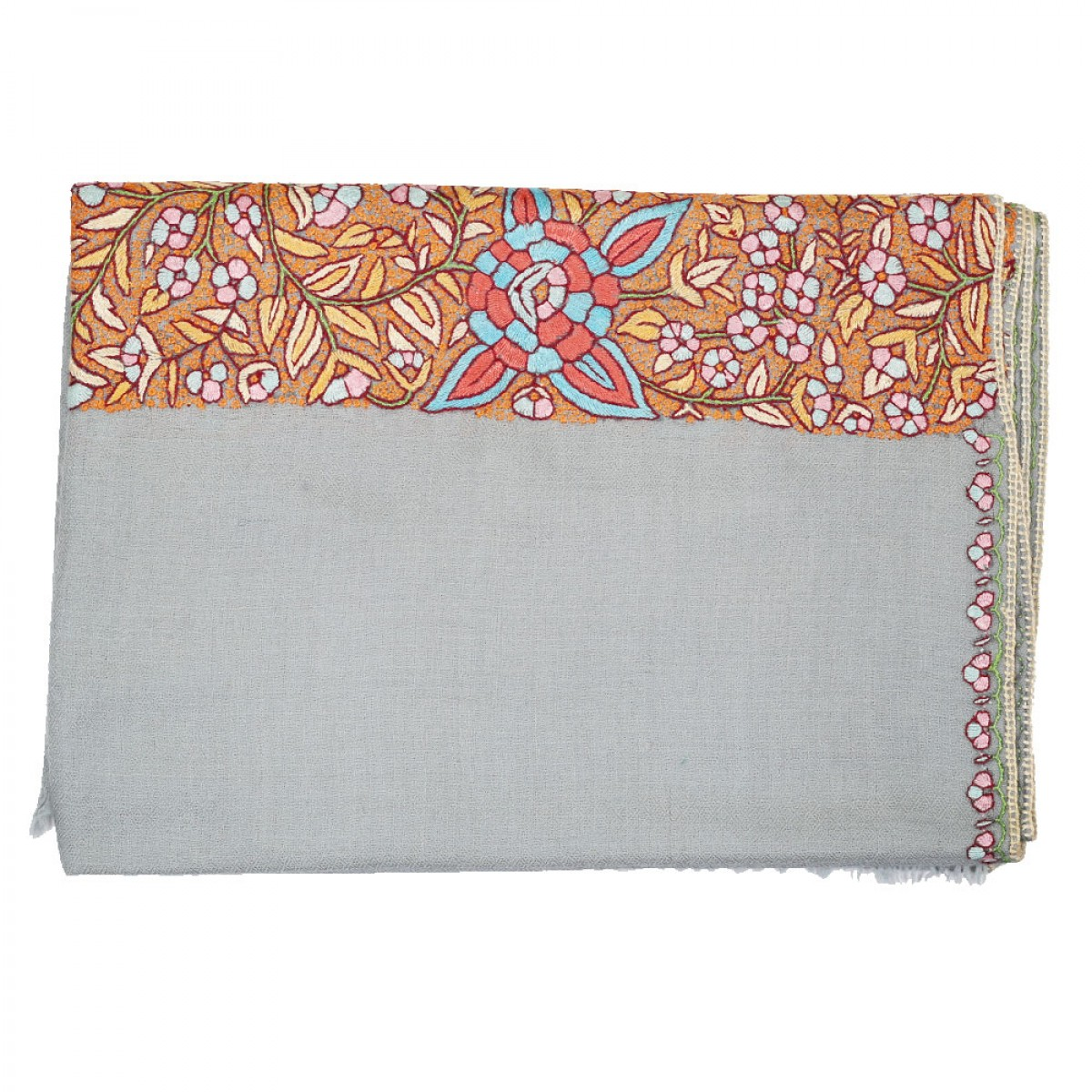 Embroidered Handloom Pashmina Stole - Grey