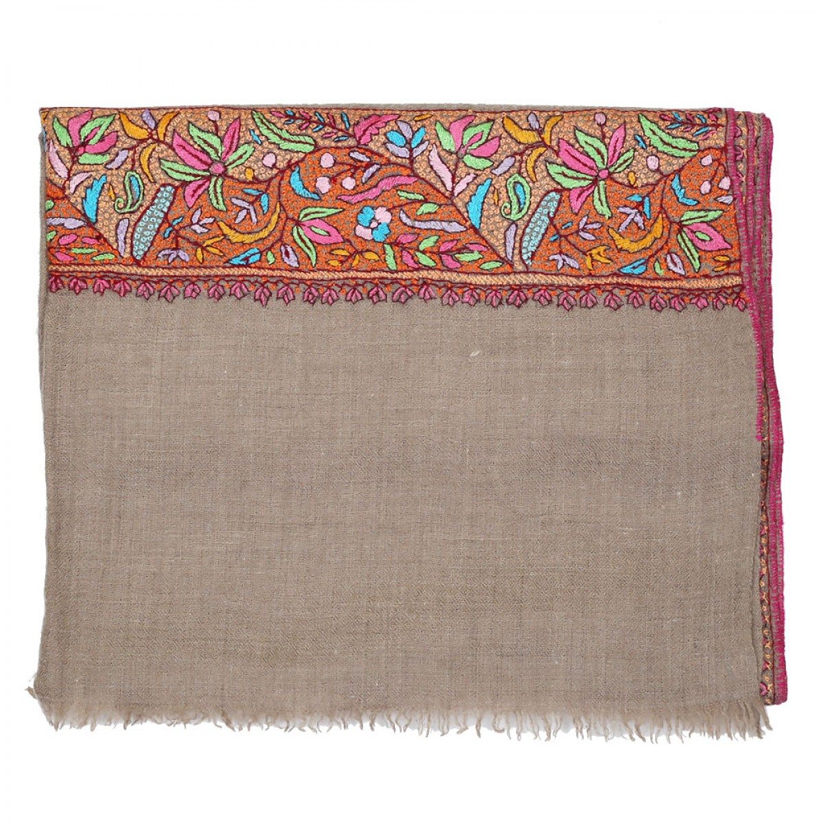 Embroidered Handloom Pashmina Stole - Camel