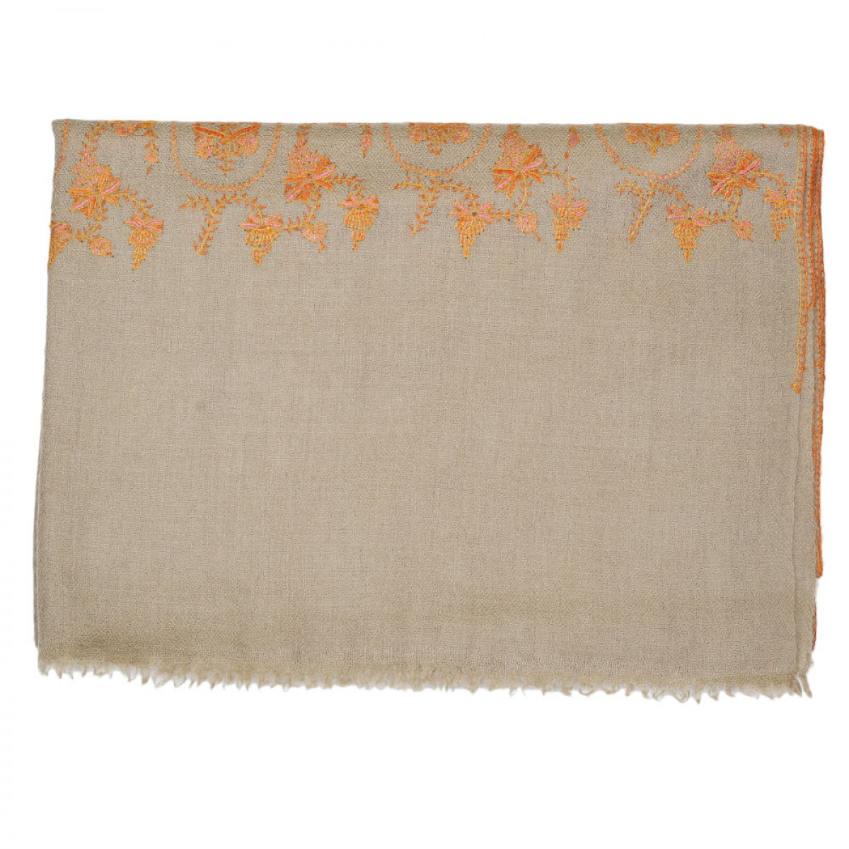 Embroidered Handloom Pashmina Stole - Natural Orange