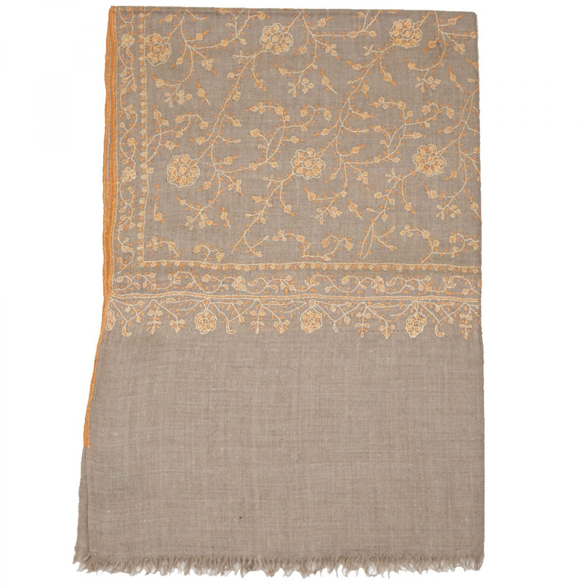 Embroidered Handloom Pashmina Stole - Camel Orange