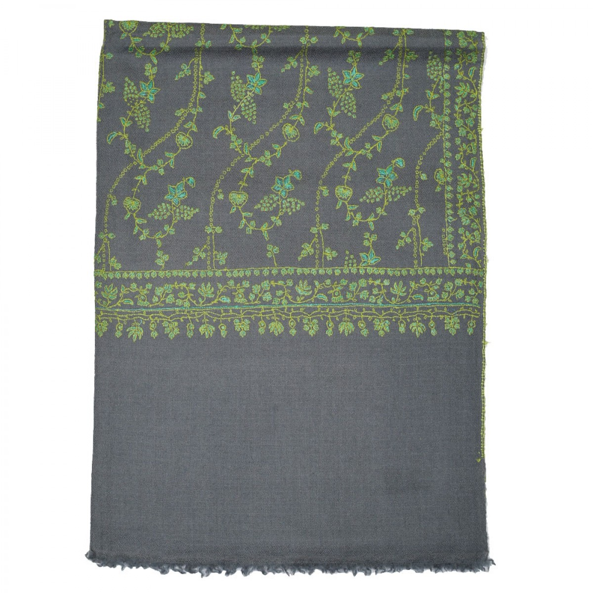 Embroidered Handloom Pashmina Stole - Grey Green