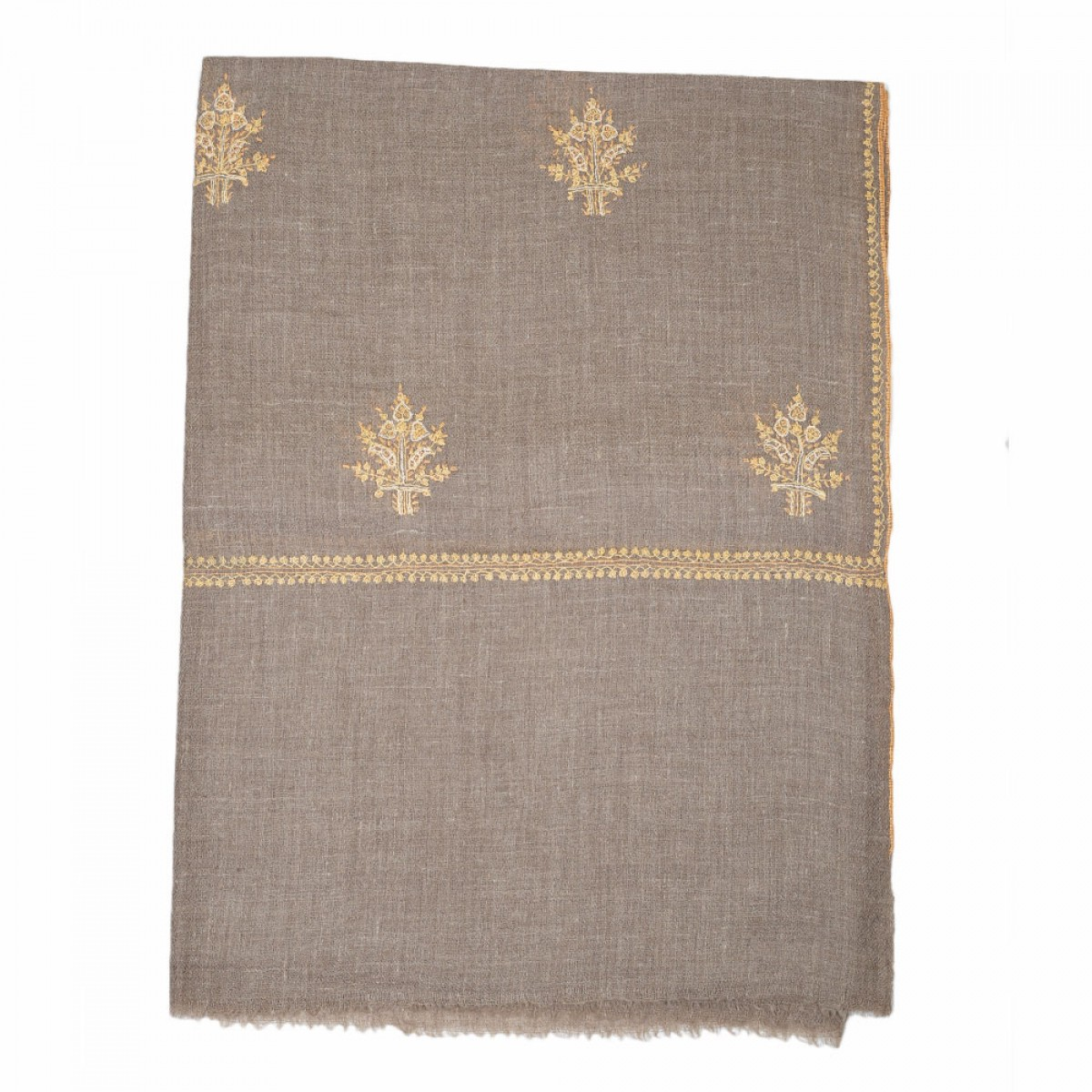 Embroidered Handloom Pashmina Stole - Natural Salmon