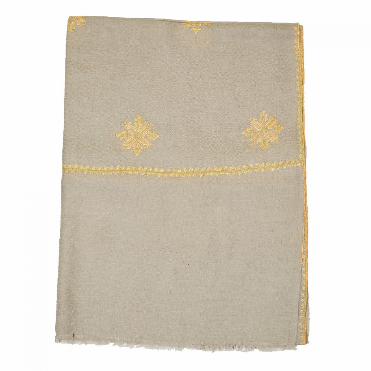 Embroidered Handloom Pashmina Stole - Oat Gold