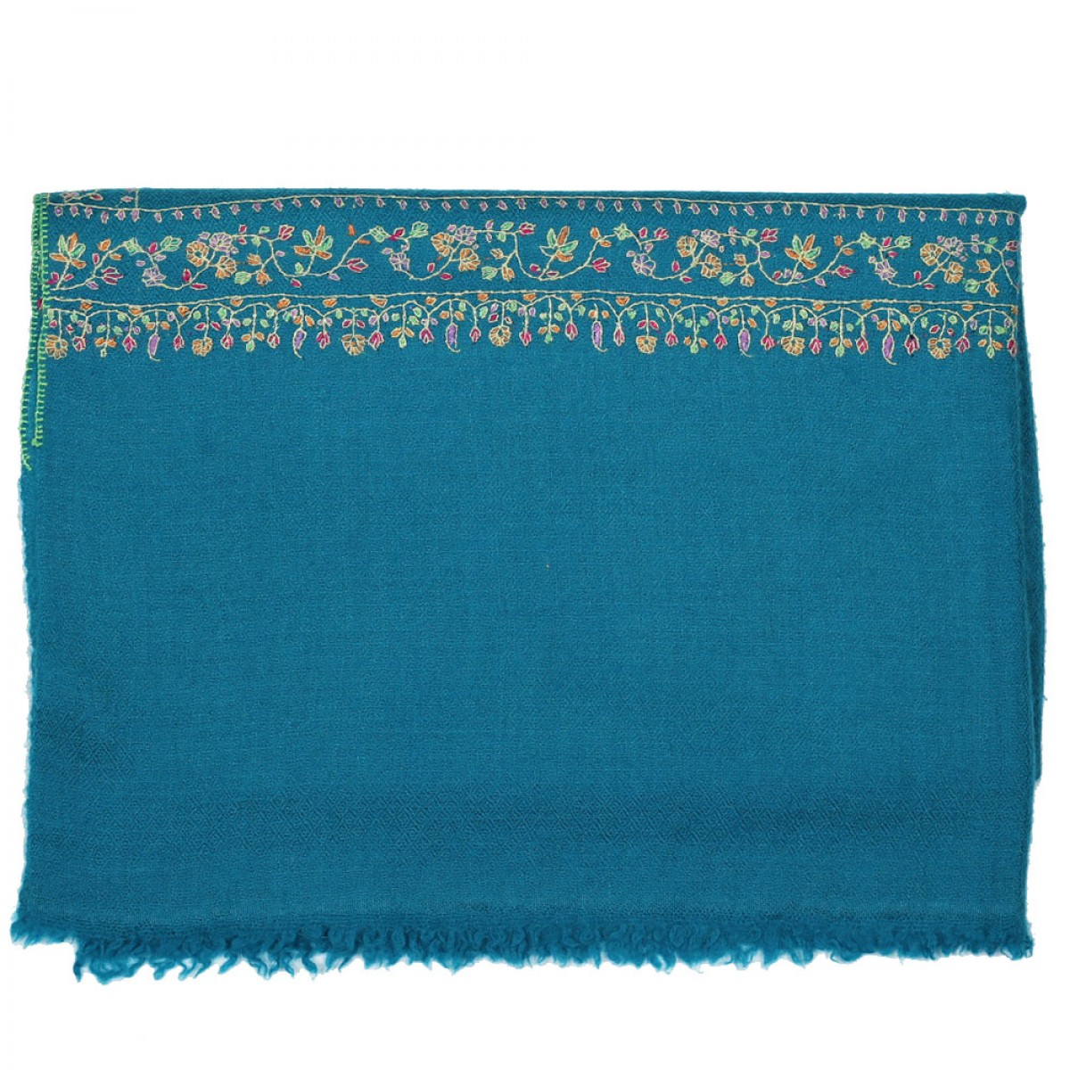 Embroidered Handloom Pashmina Stole - Teal