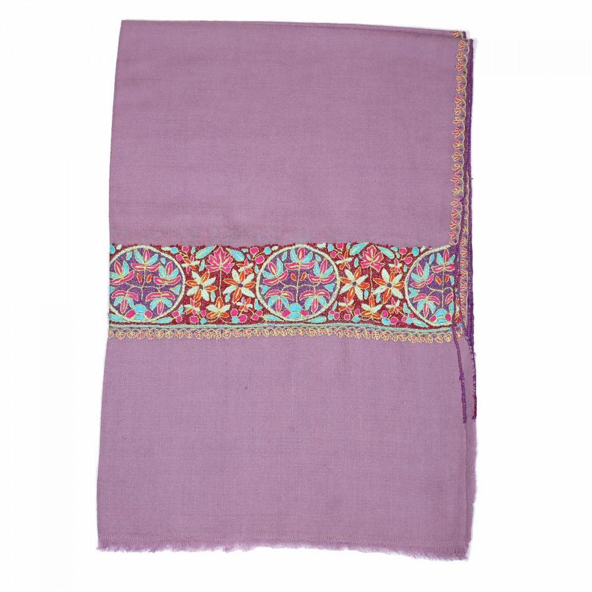 Embroidered Handloom Pashmina Stole - Mauve