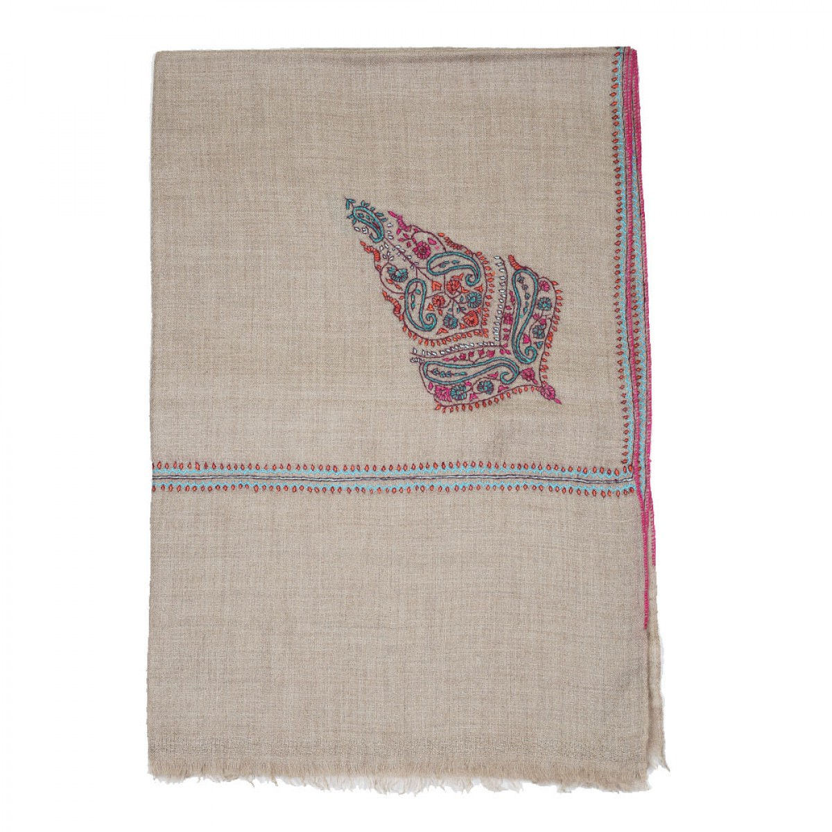 Embroidery Handloom Pashmina Scarf - Natural