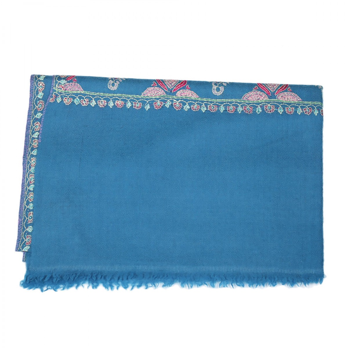 Embroidered Handloom Pashmina Stole - Steel Blue