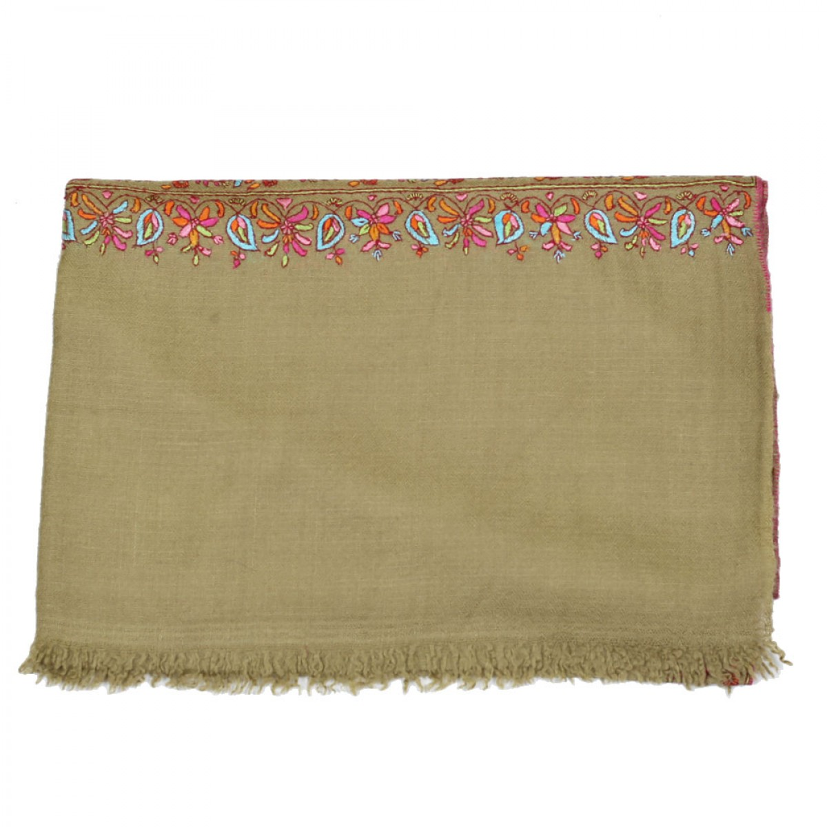 Embroidery Handloom Pashmina - Olive