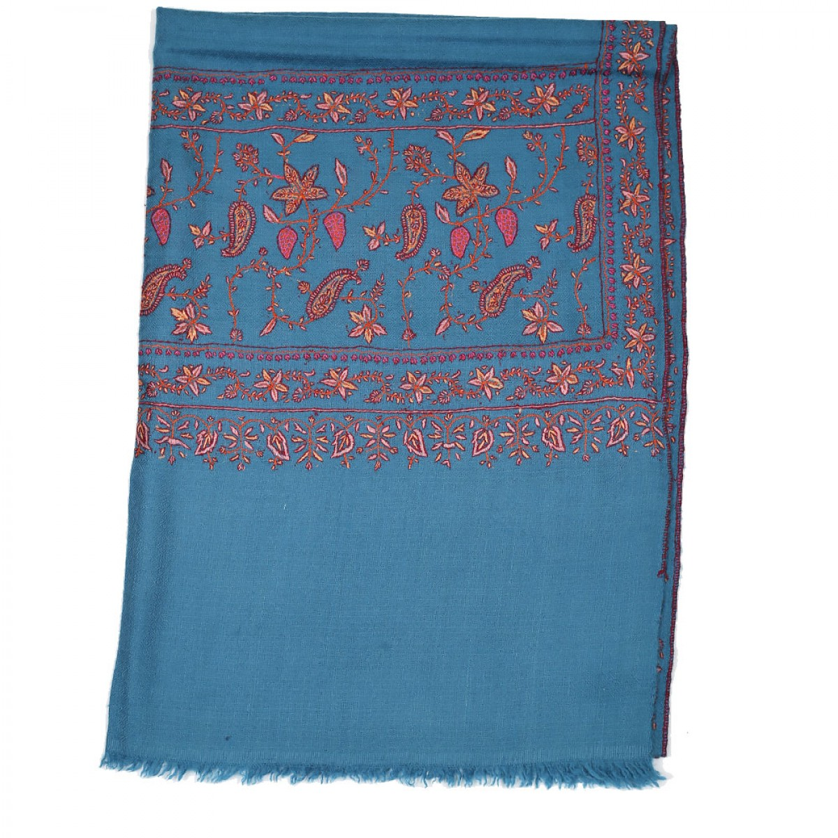 Embroidery Handloom Pashmina- Agean Blue
